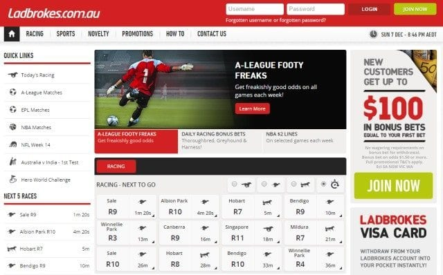 Ladbrokes website design and layout