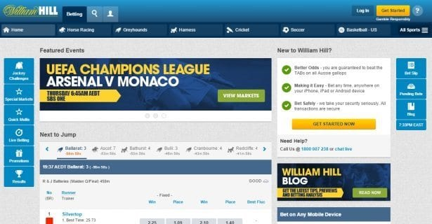 william hill betting interface