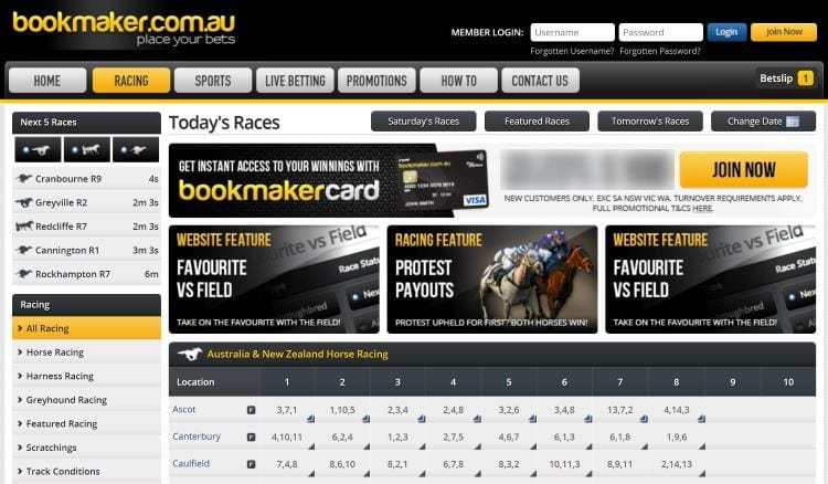 bookmaker.com.au website design
