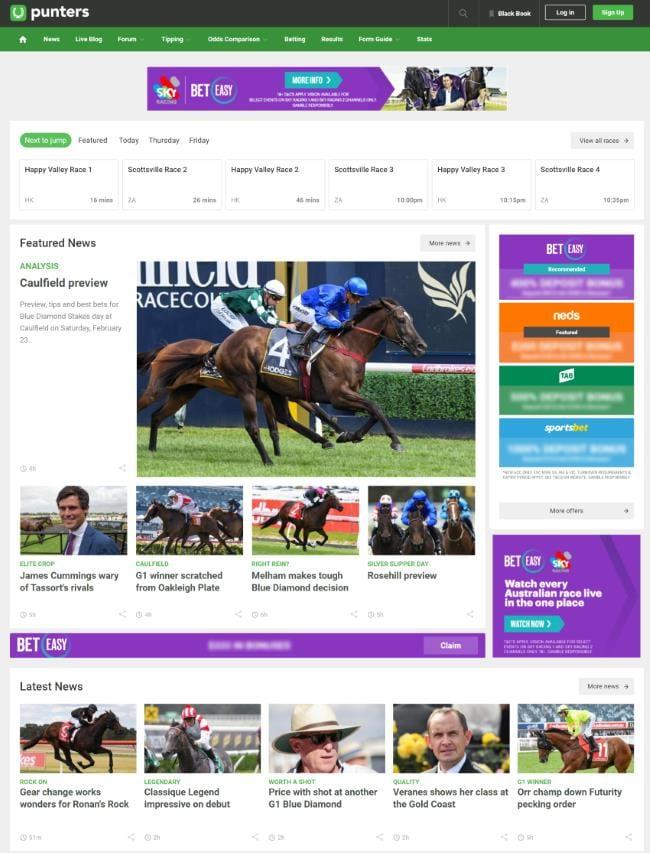 punters.com.au homepage