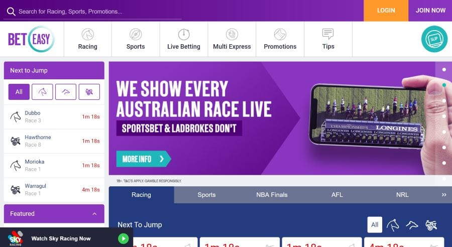beteasy live racing homepage